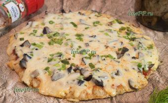 ПП пицца на сковороде на овсяноблине рецепт с грибами и сыром