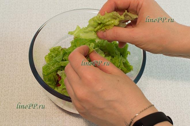 Салат из помидоров и листьев салата