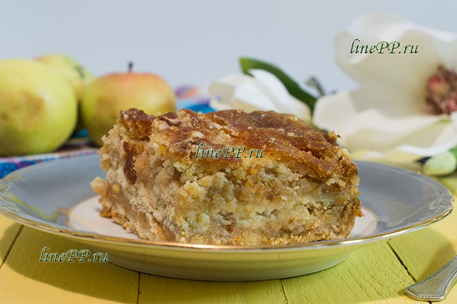 Насыпной пирог с яблоками диетический